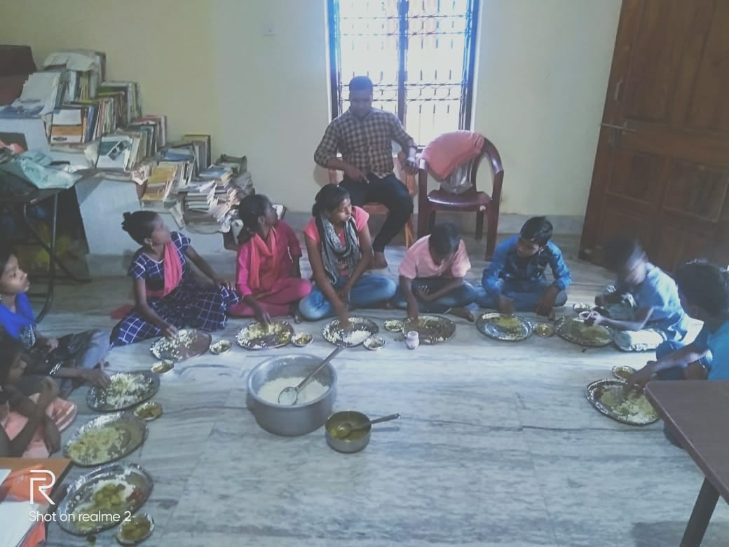 """"""" The children from Bhubaneswar mastercanteen railway station, those who are in the care of Samyak Samanata arrange a small feast in our office ."""""""